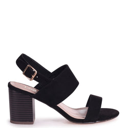 ISLA - Black Suede Stacked Block Heeled Sandal