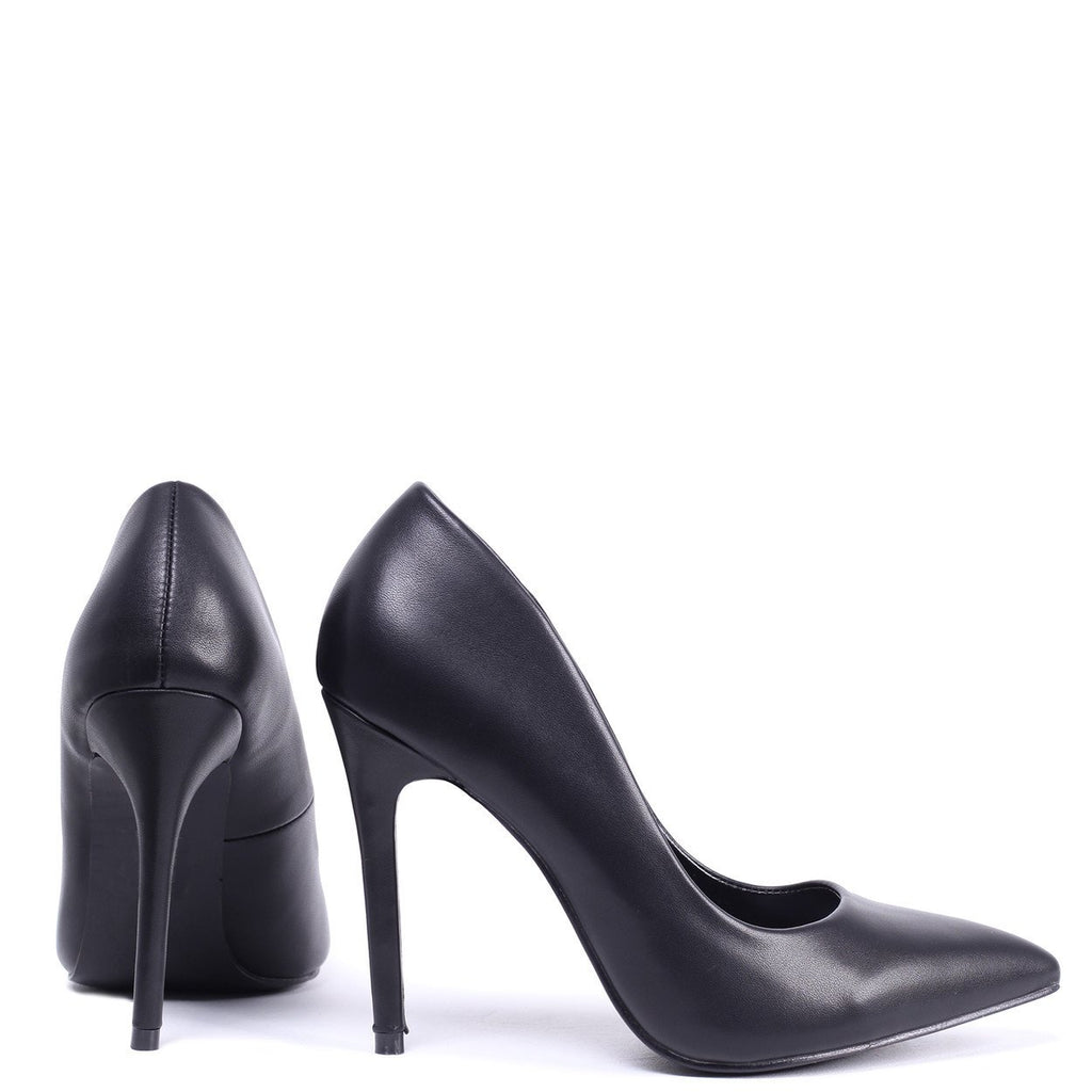BEA - Black Nappa Pointed Court Heel