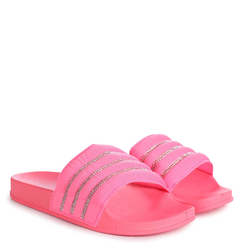 ROCCO - Coral Slip On Slider With Padded & Diamante Front Strap
