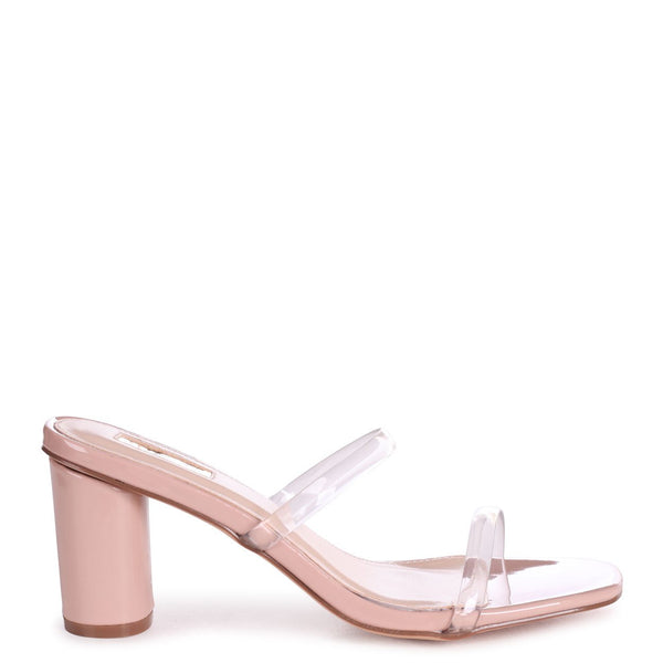 NICO - Nude Patent Slip On Mule With Double Front Strap & Cylinder Heel