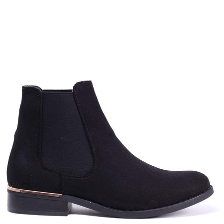 EMILY - Black Nappa Slip On Block Heeled Ankle Boot
