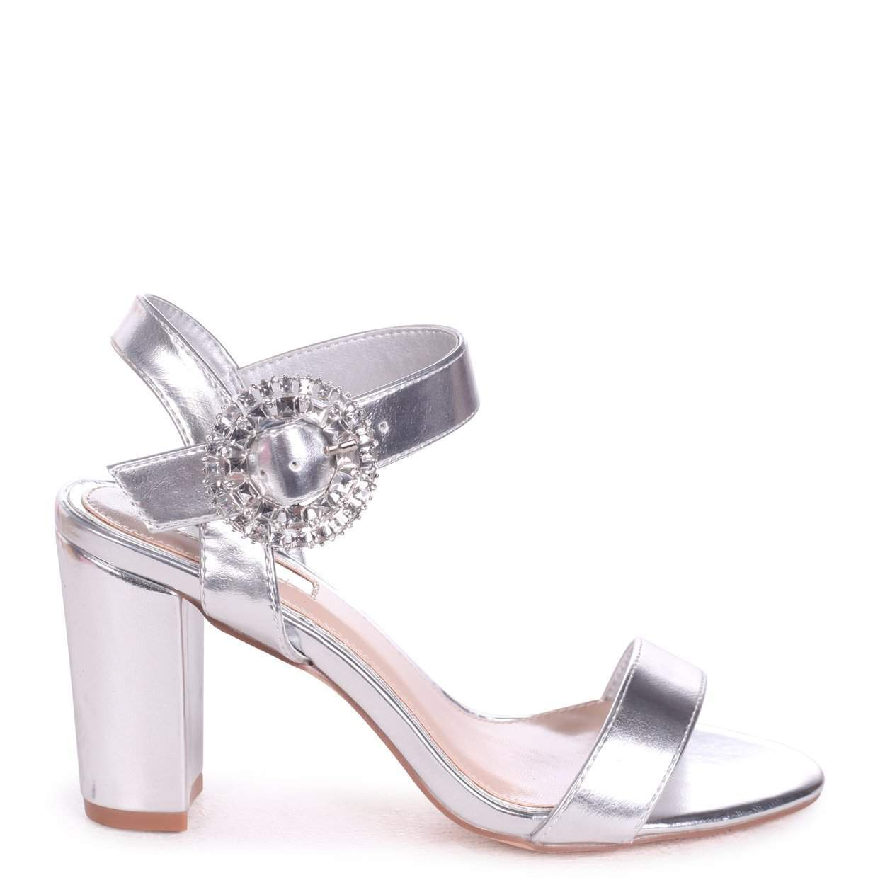 DIAMOND - Silver Metallic Heeled Sandal With Heavily Embellished Buckle