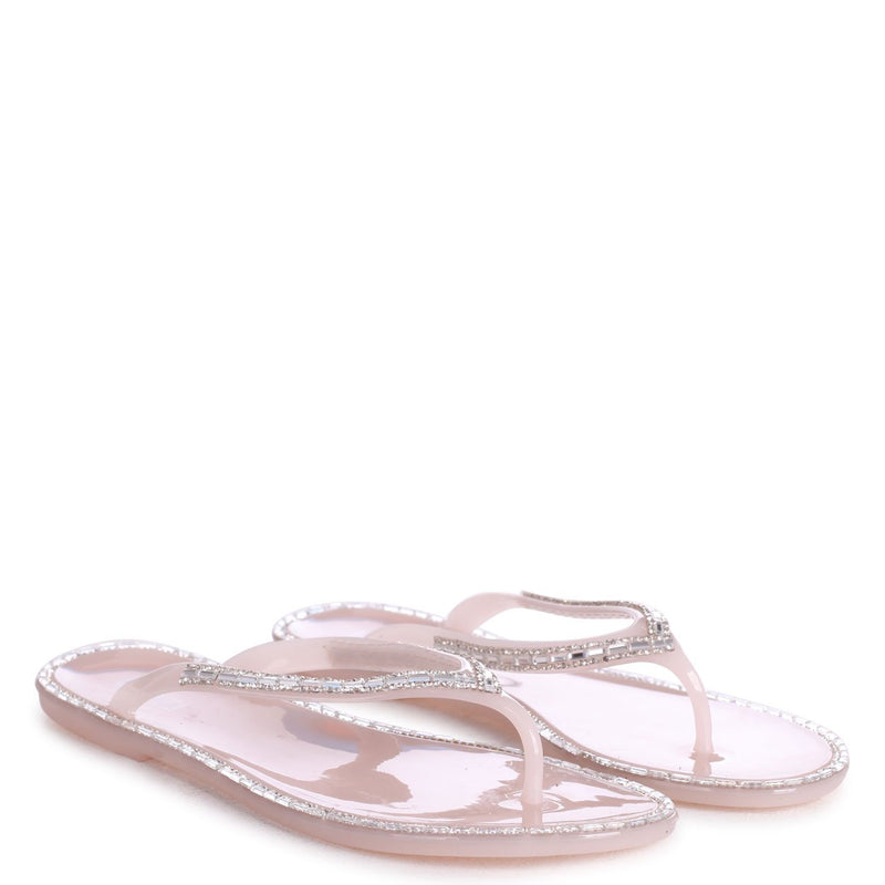BREEZY - Nude Diamante Embellished Toe Post Flip Flop Sandal