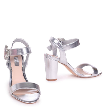 JENNIFER - Rose Gold Chrome Strappy Stiletto Heel With Ankle Strap
