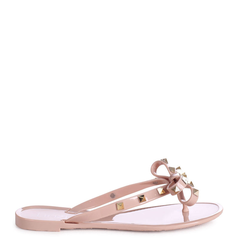 ANNIE - Nude Flip Flop Sandal With Studded Bow Detail