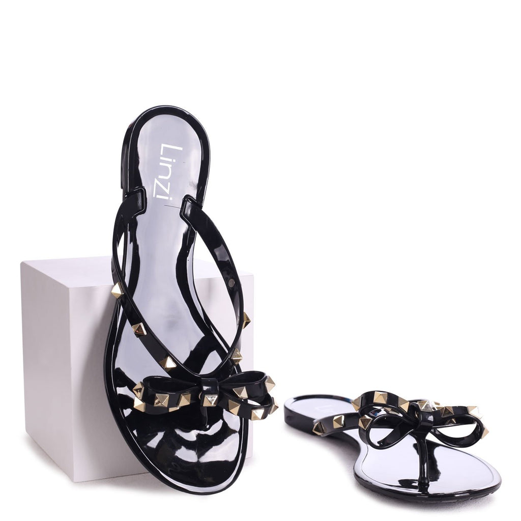 ANNIE - Black Flip Flop Sandal With Studded Bow Detail