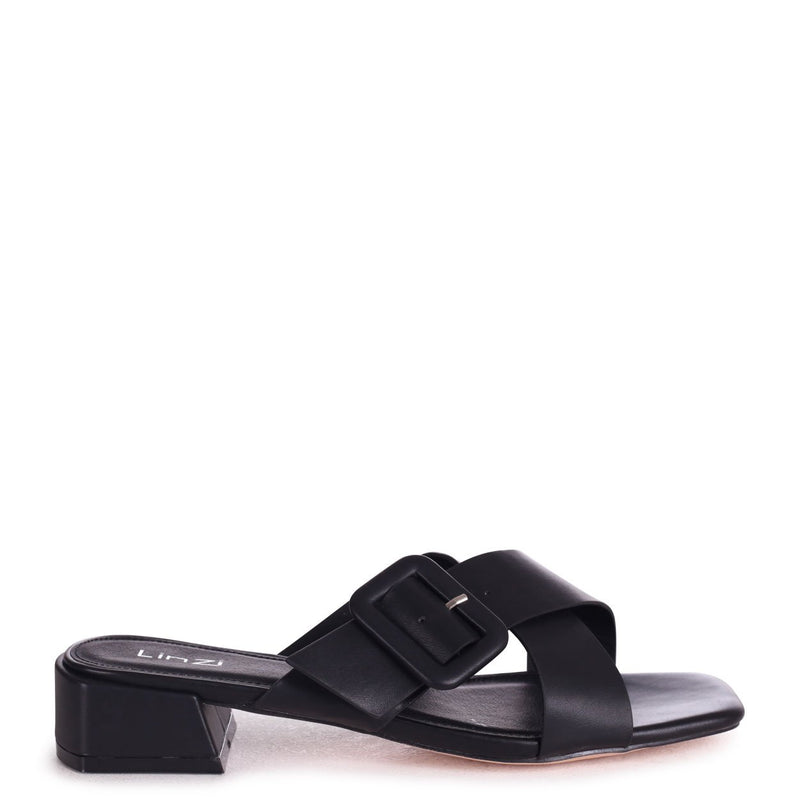 MATRIX - Black Nappa Slip On Slider With Crossover Front Strap And Small Heel