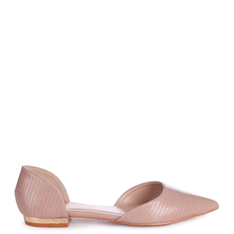 NINA - Beige Lizard Pump With Pointed Toe