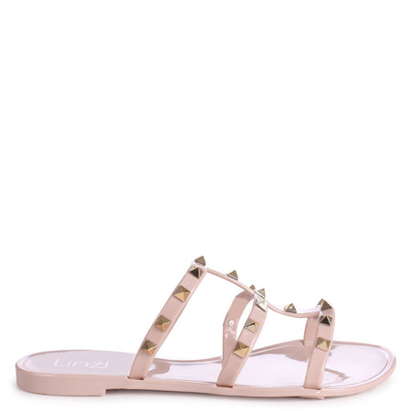 BARCELONA - Tan Nappa Square Toe Slider With Link Shaped Front Strap