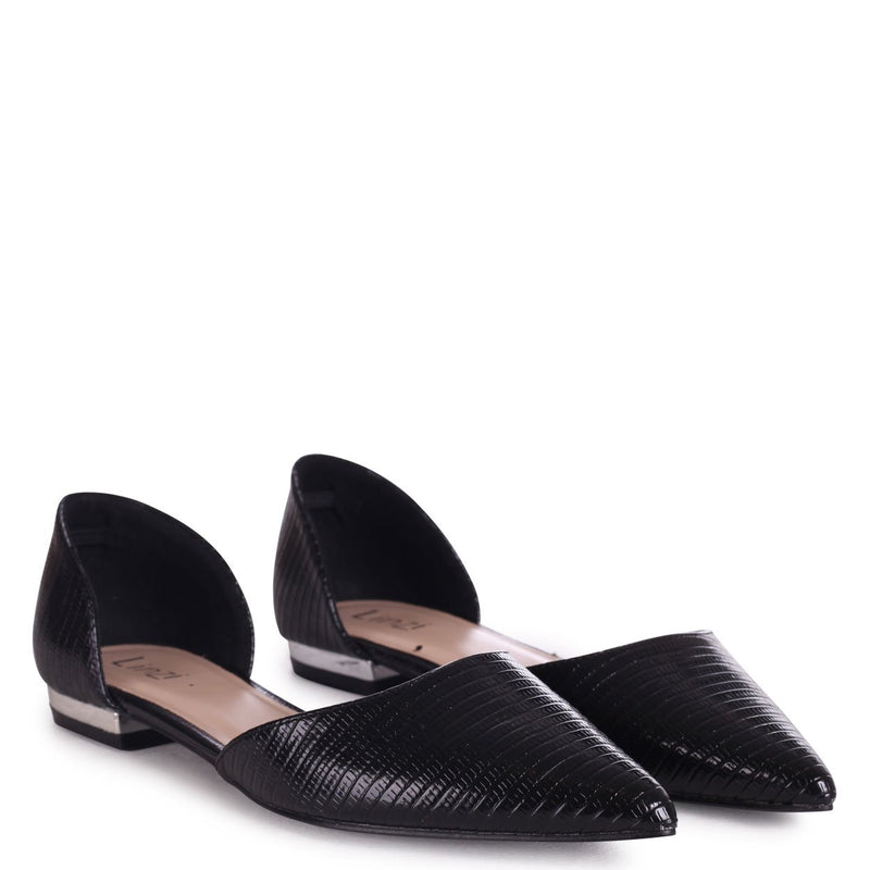 NINA - Black Lizard Pump With Pointed Toe