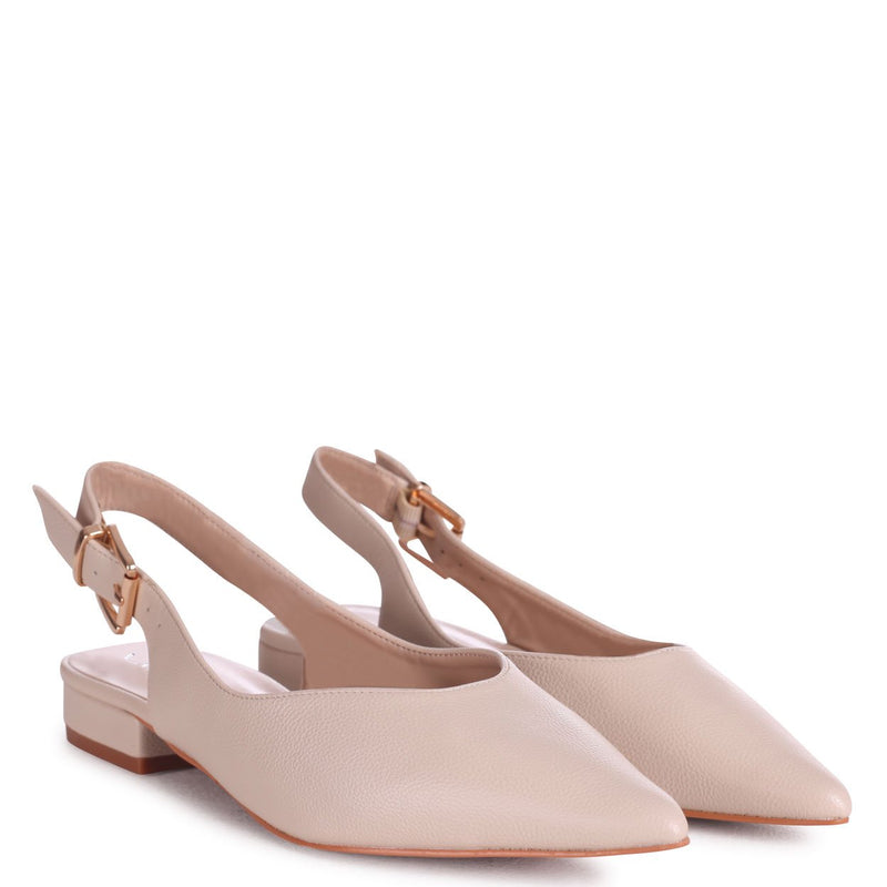 HILDA - Beige Nappa Sling Back Pump With Pointed Toe