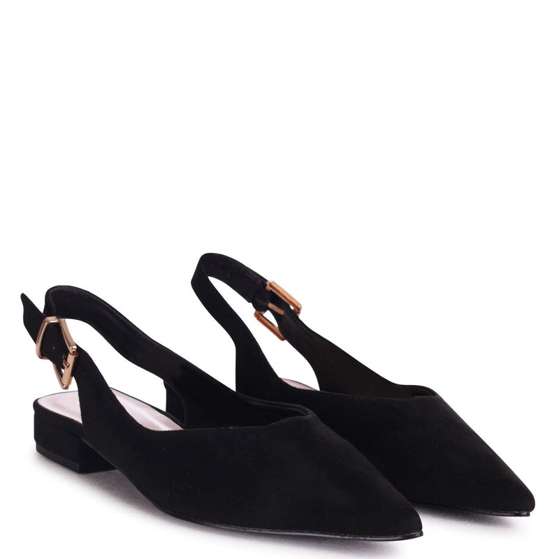 HILDA - Black Suede Sling Back Pump With Pointed Toe
