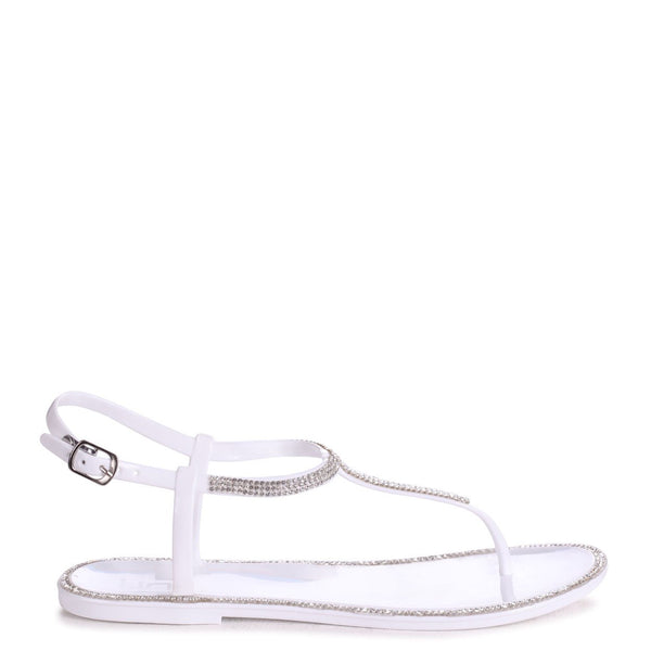 INFINITY - White Jelly Sandal With Diamante Toe Post & Trim