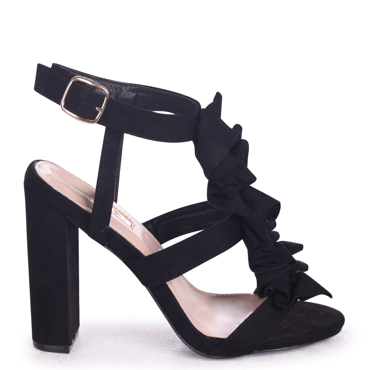 SHANELL - Black Suede Block Heel With Ruffle Front Design