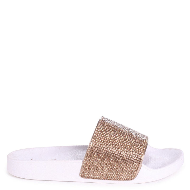 COCO - Gold Slip On Diamante Strap Sliders
