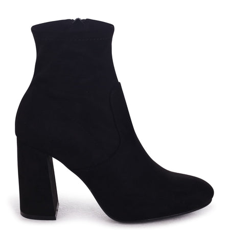 EMILY - Black Suede Slip On Block Heeled Ankle Boot