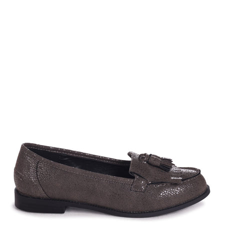 CARRI - Black Lizard Chunky Slip On Shoe with Fabric Bow