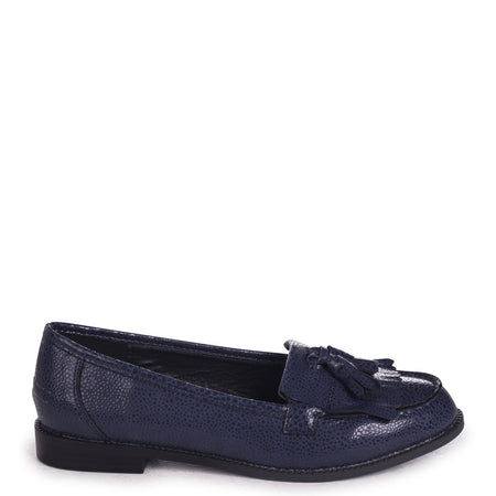 CLARICE - Black Lizard Loafer With Front Knot Detail And Studded Trim