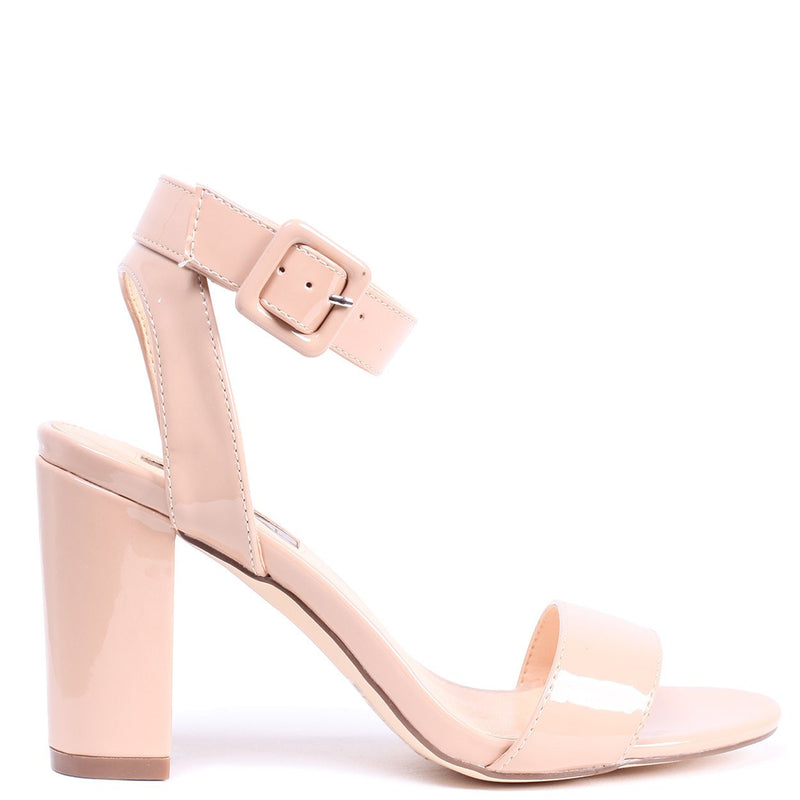 MILLIE - Mocha Patent Open Toe Block Heel With Ankle Strap And Buckle Detail