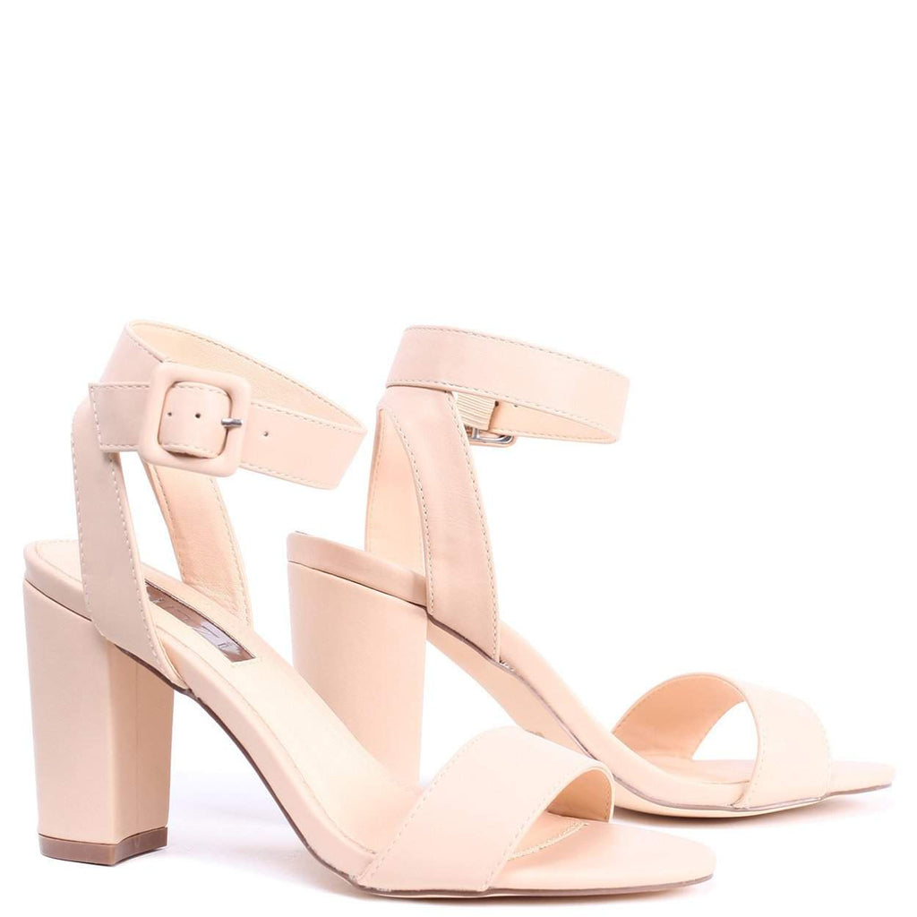 de4a2bbd7e4e MILLIE - Nude Nappa Open Toe Block Heel With Ankle Strap And Buckle Detail