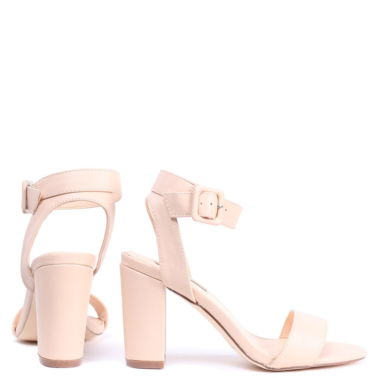 30c99e548c MILLIE - Nude Nappa Open Toe Block Heel With Ankle Strap And Buckle De – AX  Paris