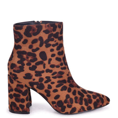 ALICE - Brown Leopard Suede Block Heeled Boot With Pointed Toe