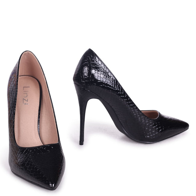 ASTON - Black Lizard Patent Classic Pointed Court Heel