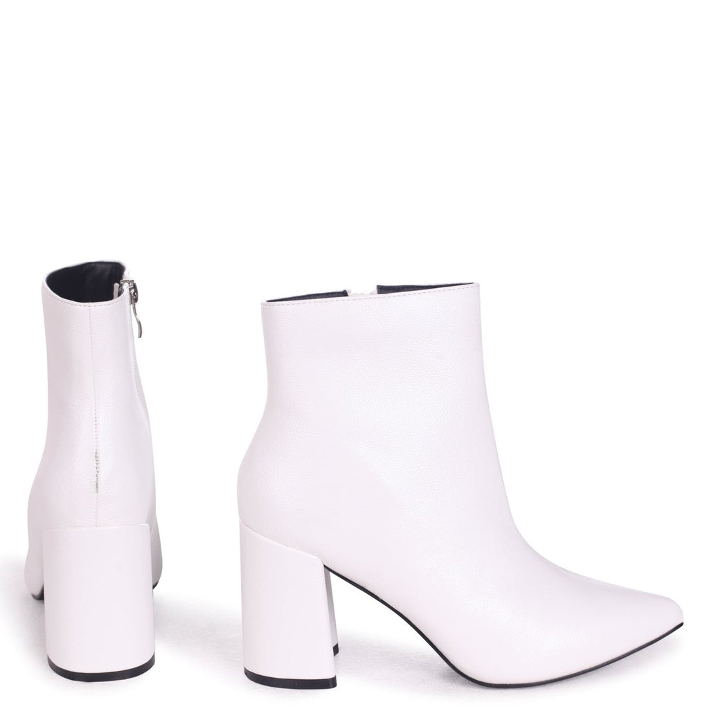 ALICE - White Nappa Block Heeled Boot With Pointed Toe