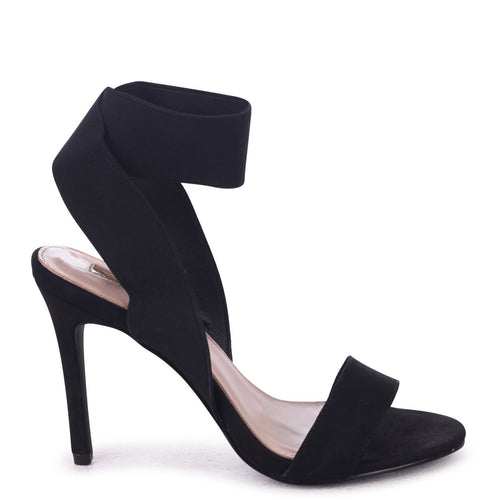CRYSTAL - Black Suede Stiletto Heel With Elasticated Upper