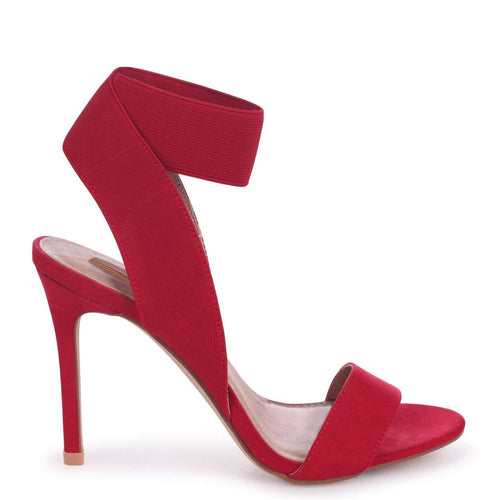 CRYSTAL - Red Suede Stiletto Heel With Elasticated Upper