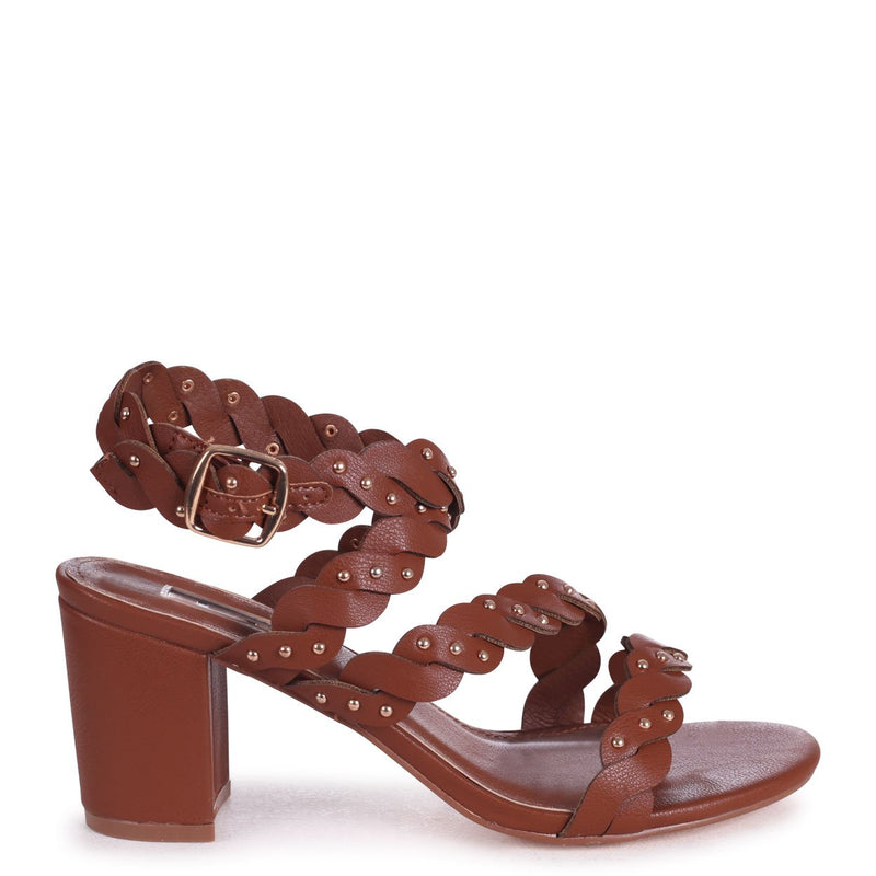 JOYCE - Tan Nappa Plaited Block Heeled Sandal