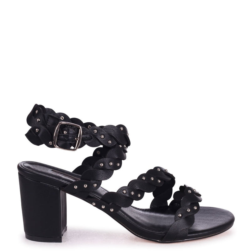 JOYCE - Black Nappa Plaited Block Heeled Sandal