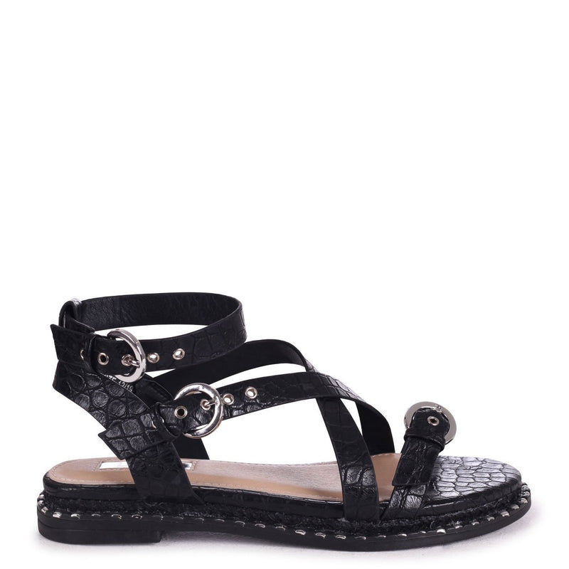 CELESTE - Black Croc Gladiator Style Sandal With Studded & Rope Sole
