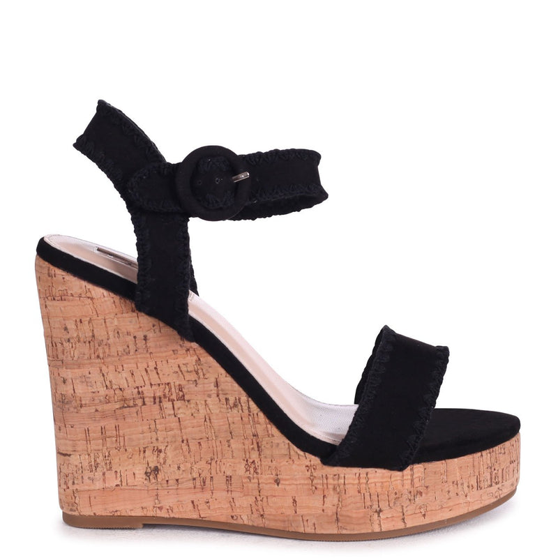 LUCIA - Black Suede Cork Wedge With Macrame Trim