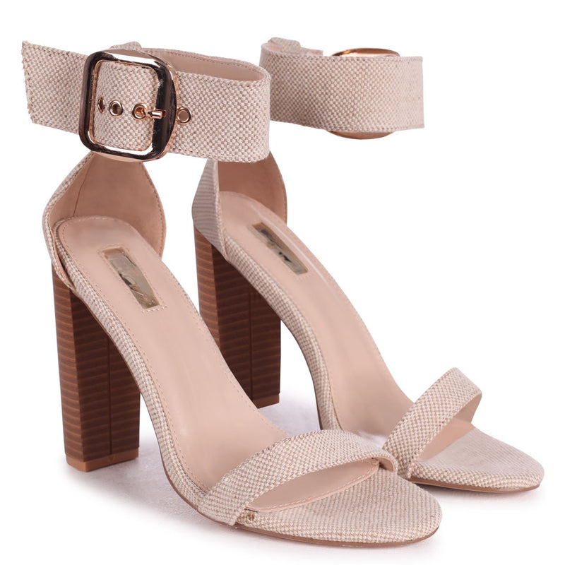 REGGIE - Natural Canvas Barely There Stacked Block High Heel