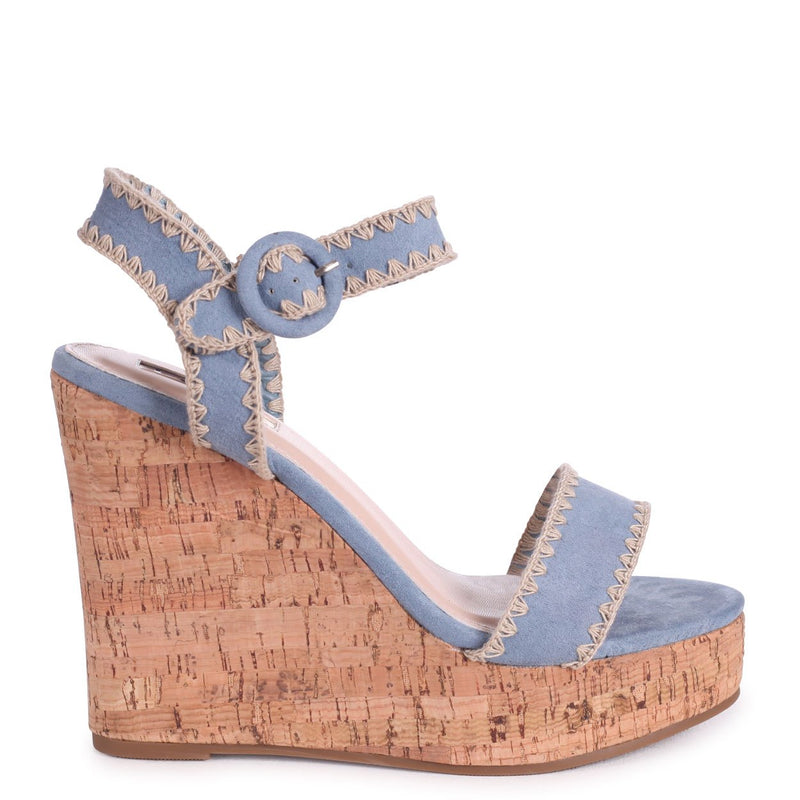 LUCIA - Pastel Blue Suede Cork Wedge With Macrame Trim