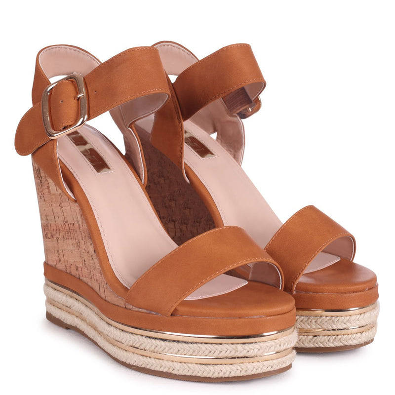 APRIL - Tan Nappa Cork Wedge With Gold & Rope Trim