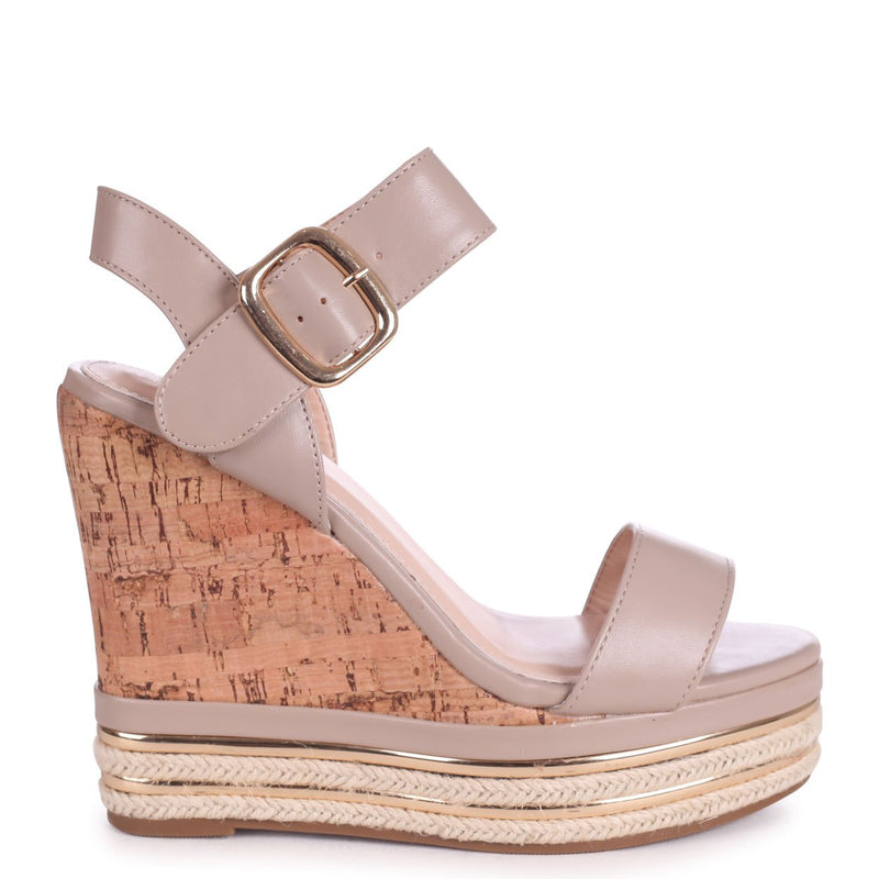 APRIL - Taupe Nappa Cork Wedge With Gold & Rope Trim