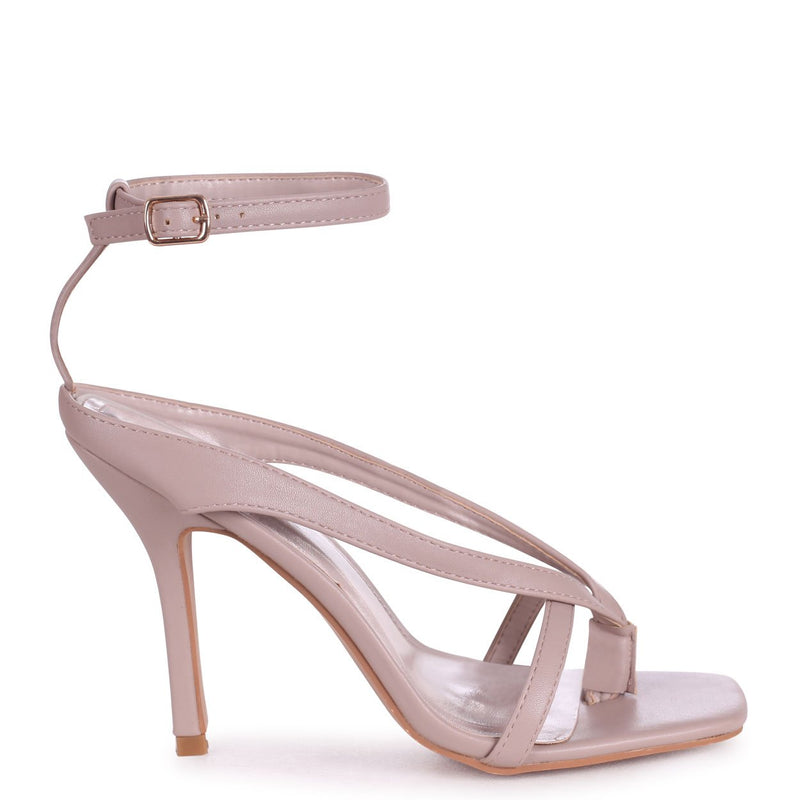 IMPULSE - Taupe Nappa Toe Post Strappy Stiletto Heel With Square Toe