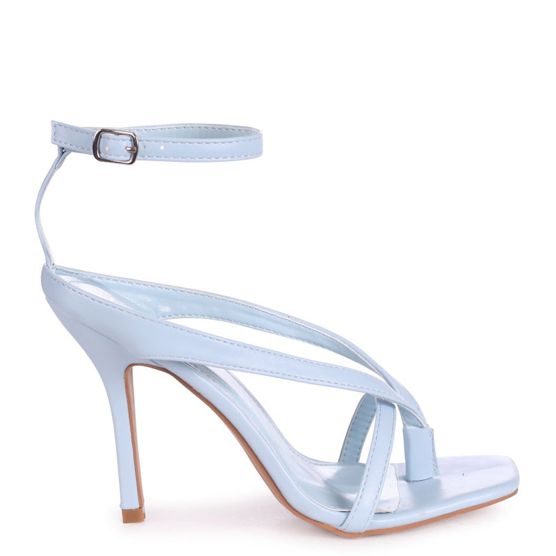 IMPULSE - Light Blue Nappa Toe Post Strappy Stiletto Heel With Square Toe