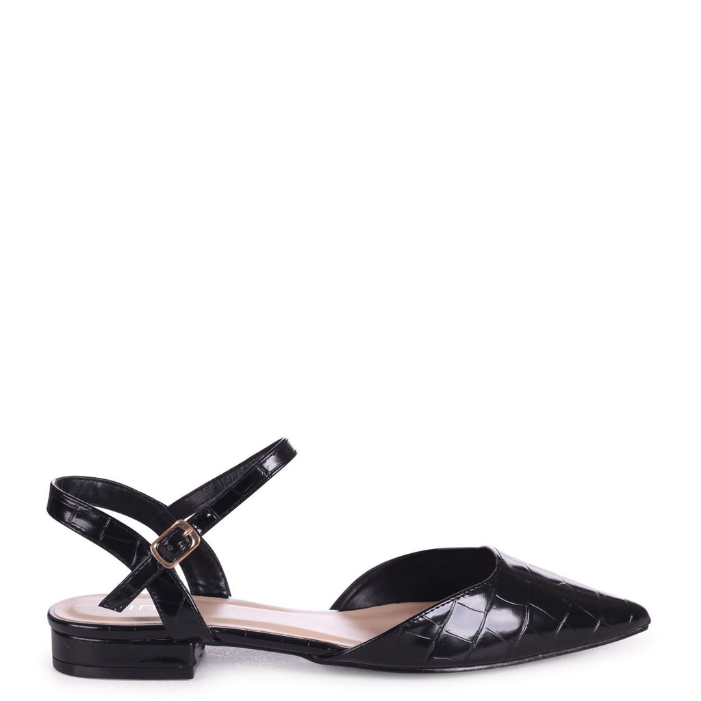 FLORA - Black Croc Pump With Pointed Toe