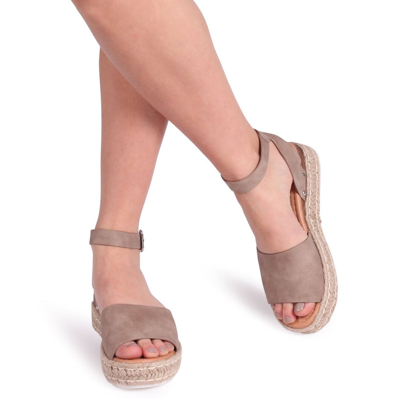 MOONLIGHT - Taupe Nubuck Two Part Espadrille Inspired Platform Wedge