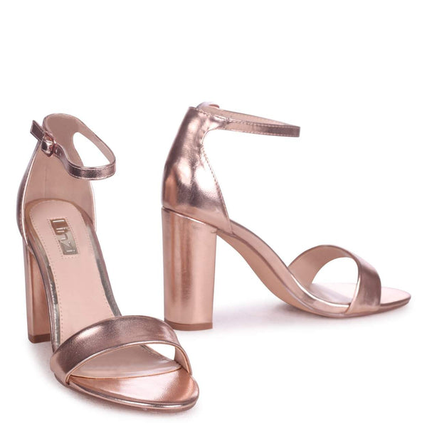 NELLY - Rose Gold Metallic Single Sole Block Heel