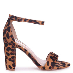 NELLY - Brown Leopard Suede Single Sole Block Heel