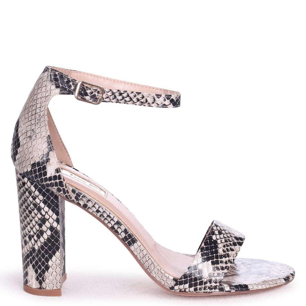 NELLY - Natural Snake Nappa Suede Single Sole Block Heel