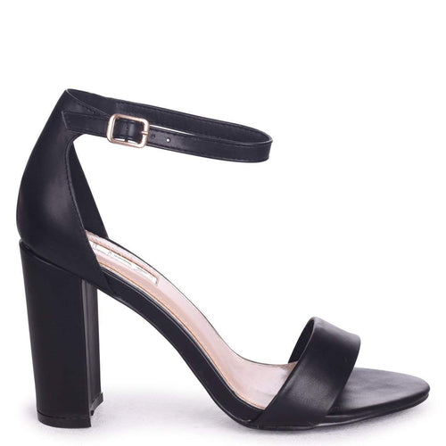NELLY - Black Nappa Single Sole Block Heel