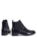 AIDA - Black Croc Nappa Classic Chelsea Boot With Elasticated Side Panels