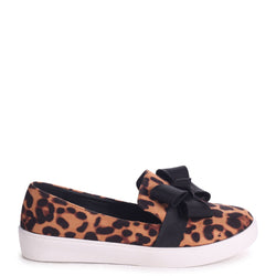 CHIC - Leopard Suede Classic Slip On Skater with Organza Bow Front Detail