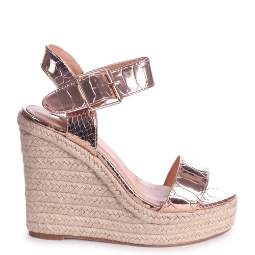 CUBA - Rose Gold Croc Rope Platform Wedge