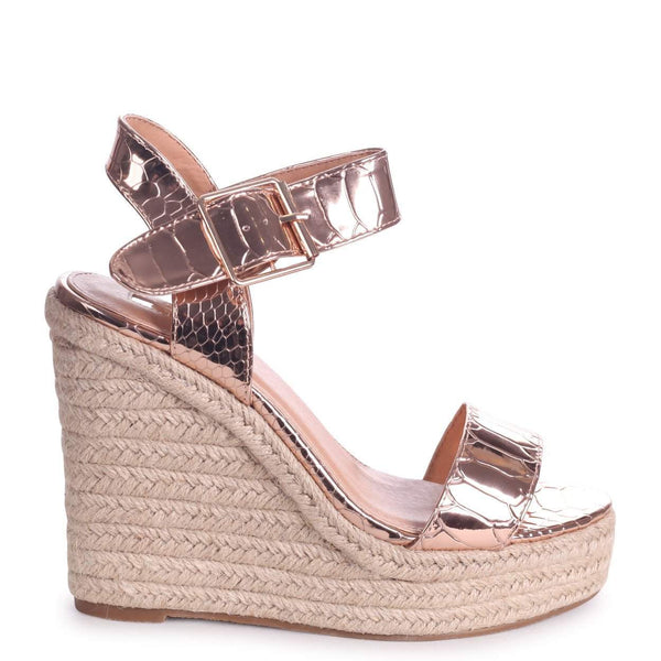 bdde212a231d CUBA - Rose Gold Croc Rope Platform Wedge – AX Paris
